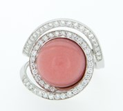 RING GOLD WITH BRIGHT WHITE AND PINK OPAL