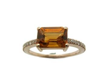 Collar Sortija Oro rosa citrino y diamantes A-415 B-79