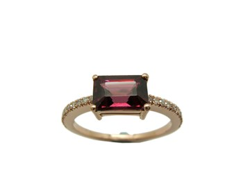 RING ROSE GOLD RHODOLITE AND DIAMOND A-416 B-79