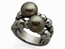 RING SILVER OBSCURED WITH RUTHENIUM WITH PEARL DARK 9089SN-G Marina Garcia