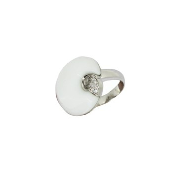 RING SILVER AND CERAMIC WITH ZIRCON 88S18W Stradda
