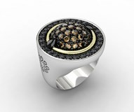 SILVER AND GOLD RING BLACK SPINEL 7GLM093R Bohemme