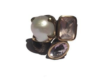 Sortija plata y oro con amatistas y perla ASP748/A Styliano