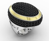 OVAL GOLD AND SILVER RING WITH BLACK SPINELS 7GLM061R Bohemme