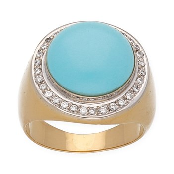RING MADE IN 18K GOLD WITH A TURQUOISE NATURAL CENTER SURROUNDED BY SPARKLING ZIRCONS 2/08/140
