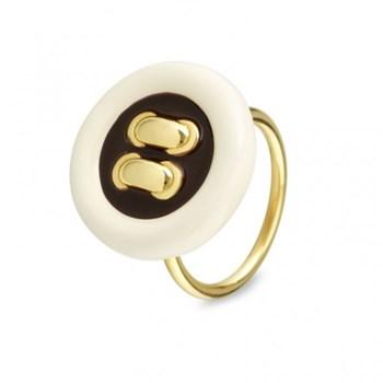 Siamo silver and button ring