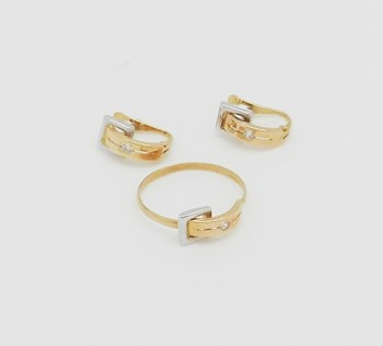 COMBINED RING AND EARRINGS OF GOLD TWO-TONE