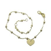 18k yellow gold tobilera with link chain and 3mm bolitas with heart motif.  Never say never