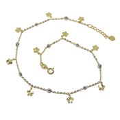 ANKLET IN YELLOW GOLD AND WHITE GOLD 18K WITH FLOWERS M�VILE. 28CM NEVER SAY NEVER